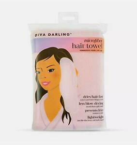 Diva Darling Easy To Use & Super Absorbent Microfiber Hair Towel Pink 19 x 42 in