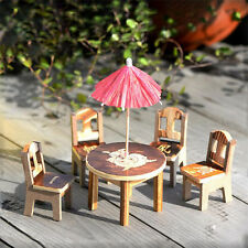 Mini Fairy Garden Miniature Table&Chair&Umbrella Ornament Craft Dollhouse