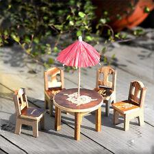 Wood Desk+Chair+Umbrella Miniature Dollhouse Garden Craft Fairy Plant Decor