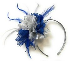 Silver and Royal Blue Fascinator on Silver Grey Headband Feathers Laces Beads