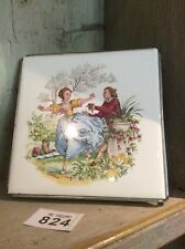 Porcelain Picture Tile Of Courting Couple by Watteau Made Into Trivet /Pot Stand