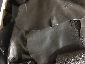Black Leather scraps hide skin BLACK Only cowhide - 13 oz