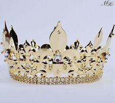 Diadem der Männer König Diadem Kristall Gold überzogen voll Kronenfestzug Party