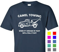 Camel Towing Funny T Shirt Adult Novelty Humor Gift Graphic Tee Cotton