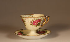 Nippon Pearl Lustre with Pink Roses Pedistal Cup and Saucer, Japan