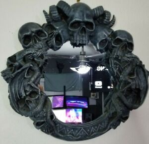 Wall Hanging Gothic Mirror Skulls Horns Dragons Evil Halloween Scary Blue Black