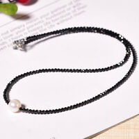 Natural Black Spinel 2mm&Freshwater Pearl S925 Silver Choker Women Necklace Gift