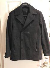 Kenneth Cole Reaction Men's Faux Leather Trim Pea Coat,Size S, MSRP $219.5
