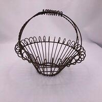 Antique Rusty Wire Basket Metal Egg Vegetable All Metal Handle