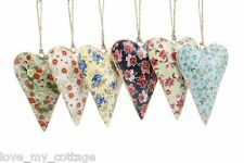 Large Metal Floral Ditsy Heart Vintage Hanging Hearts Chic & Shabby Decoration Yellow With Blue Flowers