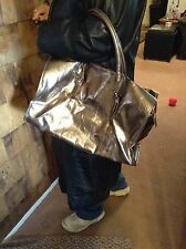 LARGE TOTE SHINY GOLD LEATHER LOOKING, GREAT CONDITION, BARELY USED