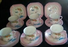 vintage BLUEBIRD of Happiness fine china tea set 18 pce 6 trios hand painted