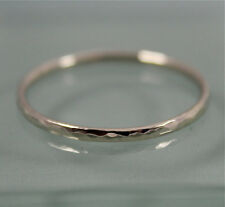 White Gold Ring 14k SOLID white Gold 1mm Wedding Stacking Band  Hammered SJR0676