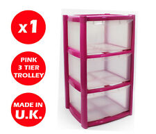 3 DRAWER PLASTIC STORAGE DRAWER - CHEST UNIT - TOWER - WHEELS - TOYS - PINK