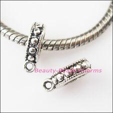 8Pcs Antiqued Silver Tiny Bail Bead Fit Bracelet Charms Connectors 10x13mm