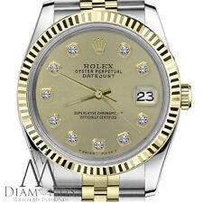 Champagne Face Rolex 36mm Men's Datejust 18K & SS Diamond Dial Jubilee Watch