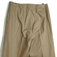 New York & Co Womens Pants Sz 8 Cropped Capri Khaki Stretch Side Zip Flat Fr