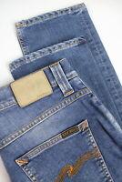 RRP £120 NUDIE GRIM TIM RAINY COMPACT Men's W32/L32 Blue Stretch Jeans 4297*mm