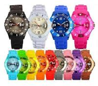STYLE UNISEX SILICONE RUBBER JELLY WRIST WATCH DATE FOR ADULT BOYS GIRLS GIFT