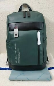New Piquadro Downtown Green/Black Leather Men's Backpack With PC Compartment