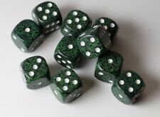 Speckled 16mm D6 RPG Chessex Dice (10 Dice)  Recon Green Black and White