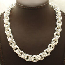 """18"""" Bold Triple Rolo Circle Link Necklace Chain Real 925 Sterling Silver"""