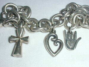 """AUTHENTIC JAMES AVERY STERLING HEAVY LINK CHARM BRACELET W/ 3 AVERY CHARMS- 7"""""""
