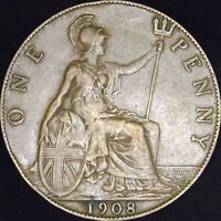 1908 VF++ Great Britain Penny - KM# 794.2