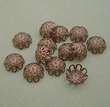 50pcs -Copper Plated Bead Caps 12mm.