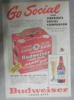 "Budweiser Beer Ad: Go Social with New  ""Handy Six"" ! from 1950's"