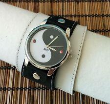 Yen & Yang Leather Watch wide band Women Men Spiritual Classic  Fashion Artistic