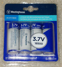 Westinghouse 4-Pack 18500 3.7V Lithium-Ion Rechargeable Battery Set NEW 807244W