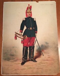 MILITARIA. Große Kleidung Service Chromolithografie 19. Jahrhundert.