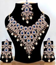 Indian Traditional Ethnic Blue color Set Necklace and Earrings Gold Plated Set.