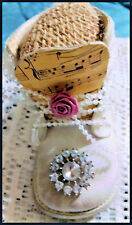 Altered Art OOAK Vintage Baby Shoe & Rhinestones W Lace By Artist Pin Cushion