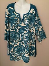 Women's St John's Bay Saxony Blue Top with 3/4 Sleeves        Size 3X        NWT