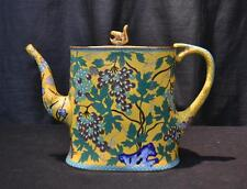 Antique Unusual Oriental Yellow CLOISONNE Metal Teapot Bronze squirrel on Lid