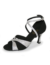 Black and silver Roch Valley Selina ballroom/latin dance shoes -size UK 6