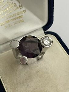 Guess Collection 925 Silver Amethyst & Cubic Zirconia Statement Ring Size N 1/2