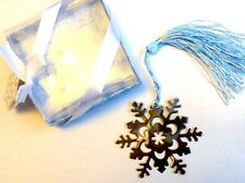 Christmas Bookmark Silver coloured Metal Snowflake with Blue Tassell Gift Boxed