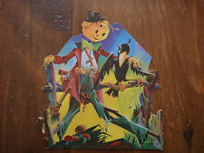 Vintage Dennison Halloween Harvest Scarecrow Crow Die Cut Cardboard Decoration