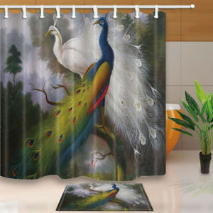 """White and Colorful Peacock Bathroom Shower Curtain Waterproof Fabric & Hooks 71"""""""