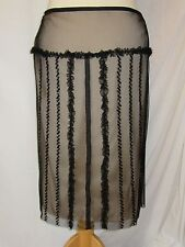 NEW George Black Net Lace Frilled Evening Skirt Size 16 rrp £25 Sheer Cream