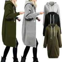 Winter Women Oversized Hoodie Jacket Ladies Casual Long Zip Up Outwear Coat L7V3