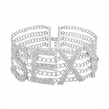 Crystal Letters Choker Necklace Rhinestone Collar Women Pendant Statement