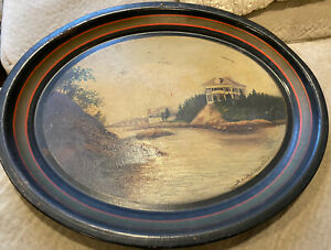 Antique Toleware Tray Hand painted Signed & Dated 1909 Coastal Ocean Sea Mansion