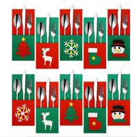 Christmas Cutlery Holder Fork Spoon Pocket Tree Pouch Bag Tableware Table Decor