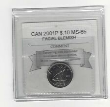 "**2001P ""Pimple""**, Coin Mart  Graded Canadian,  10  Cent, **MS-65**"