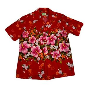 Vtg Ui Maikai Authentic Mens Button Up Pink Hibiscus Hawaiian Shirt Hawaii Med