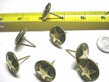 Antique Brass Western Style Star LARGE 3/4 INCH Head Nail/Upholstery Tack Pkg 25